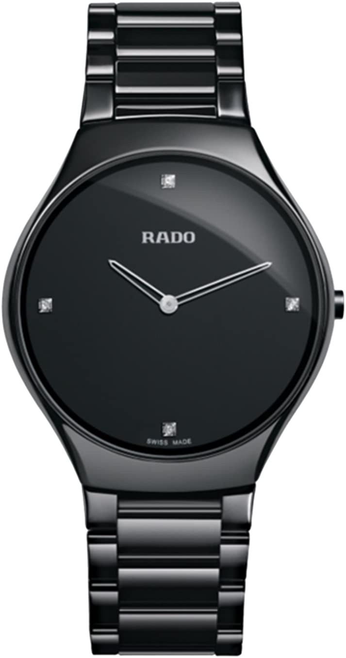 Rado True Thinline Black Dial Black Ceramic Mens Watch R27741712