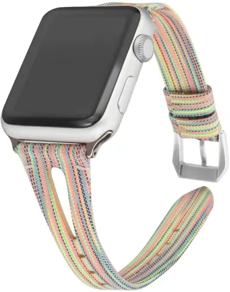 Somoder Slim Woven Bands Compatible with Apple Watch 38mm 40mm, Soft Cloth Fabric Canvas Strap Replacement for iWatch Series 5/4/3/2/1 Women Man