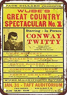 1970 Conway Twitty in Cincinnati Vintage Look Reproduction Metal Tin Sign 12X18 Inches