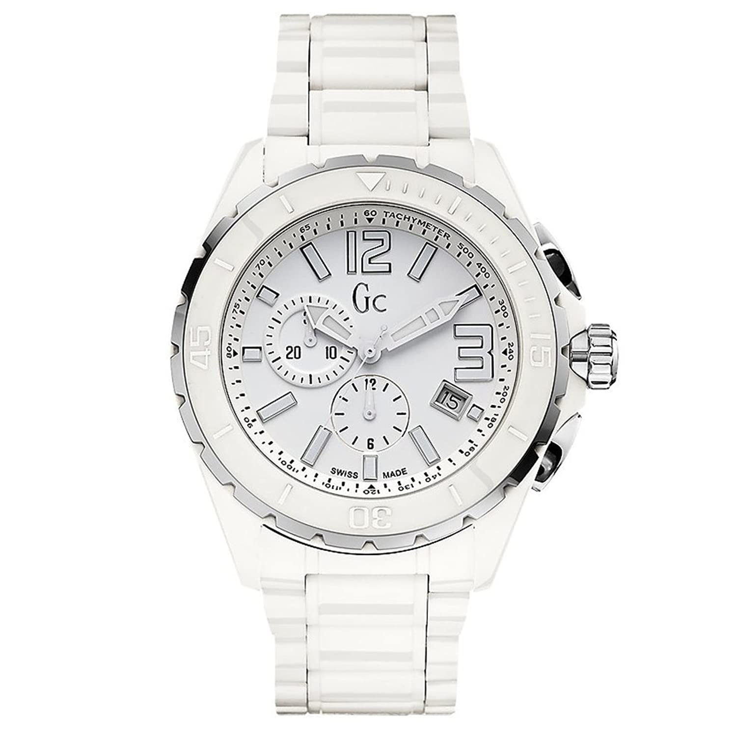 GUESS COLLECTION HERREN & DAMEN CHRONOGRAPH WEIß RESIN ARMBAND UHR X76015G1S