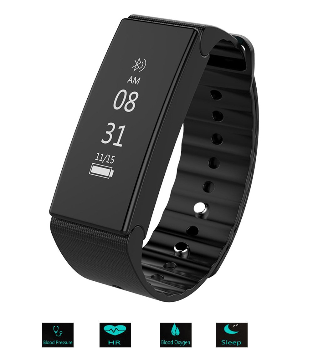 GETOKOK Fitness Tracker activity tracker with heart rate blood pressure blood oxygen monitor,wireless Bluetooth Waterproof smart Watch, Smart bracelet, smart band for android or ios iphone