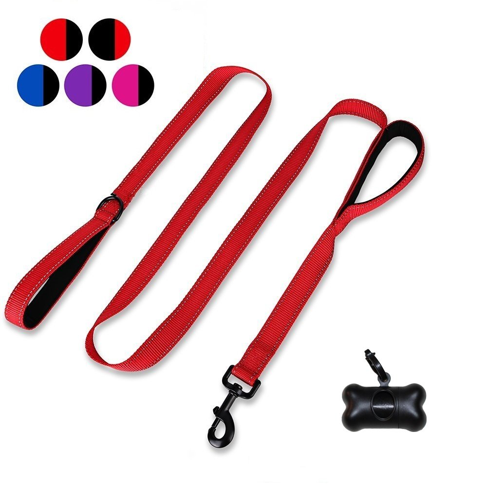 Red Sturdy Dog Leash with Padded Two Handle Safety Greater Control,Safety Training Leash Dog Training Walking Leashes for Medium Large Dogs,Perfect for Medium to Large Dogs (Red)