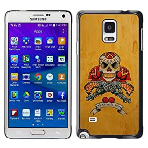 Plastic Shell Protective Case Cover    Samsung Galaxy Note 4 SM-N910    Guns Pistols Skull Yellow Rose War @XPTECH