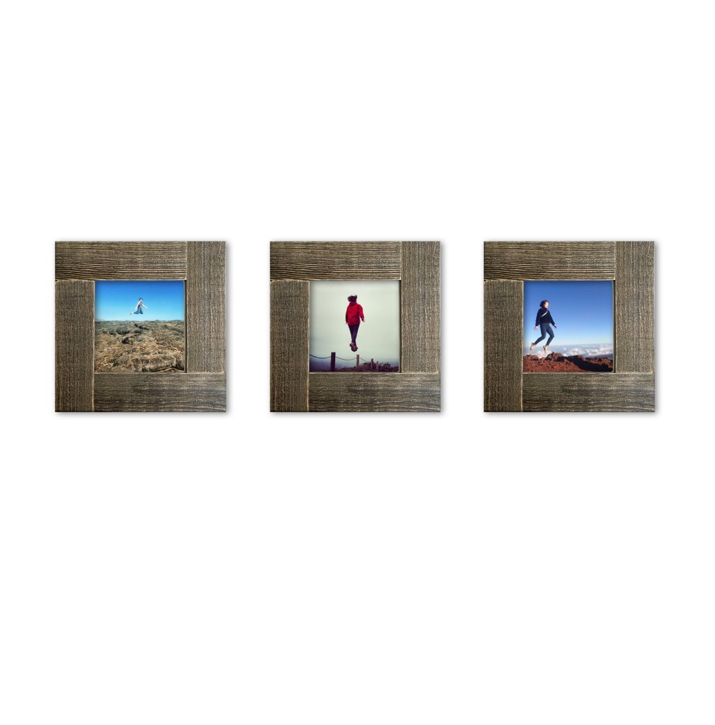 Tiny Mighty Frames 3-Set, Distressed Wood, Square Instagram Photo Frame, 4x4 (3.5x3.5 Window) (3) - Fits 4x4 inch prints (Window 3.5 x 3.5) Individual frame outside edge dimension: 6 x 6 inches Material: Glass and wood - picture-frames, bedroom-decor, bedroom - 615rhLZAccL -