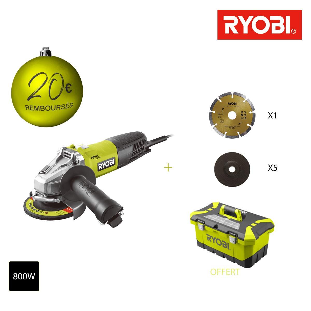Meuleuse d'angle RYOBI 800 W 125mm - 1 disque diamant - 5 disques à ébarber - Toolbox RAG800-125TA6 Ryobi Tools