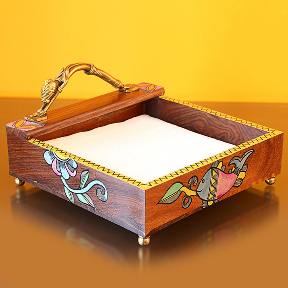ExclusiveLane Handpainted Wooden Napkin Holder With Madhubani Art -Napkin Rings Holder For Kitchen Table Tissue Paper Holder Stand For Table Top