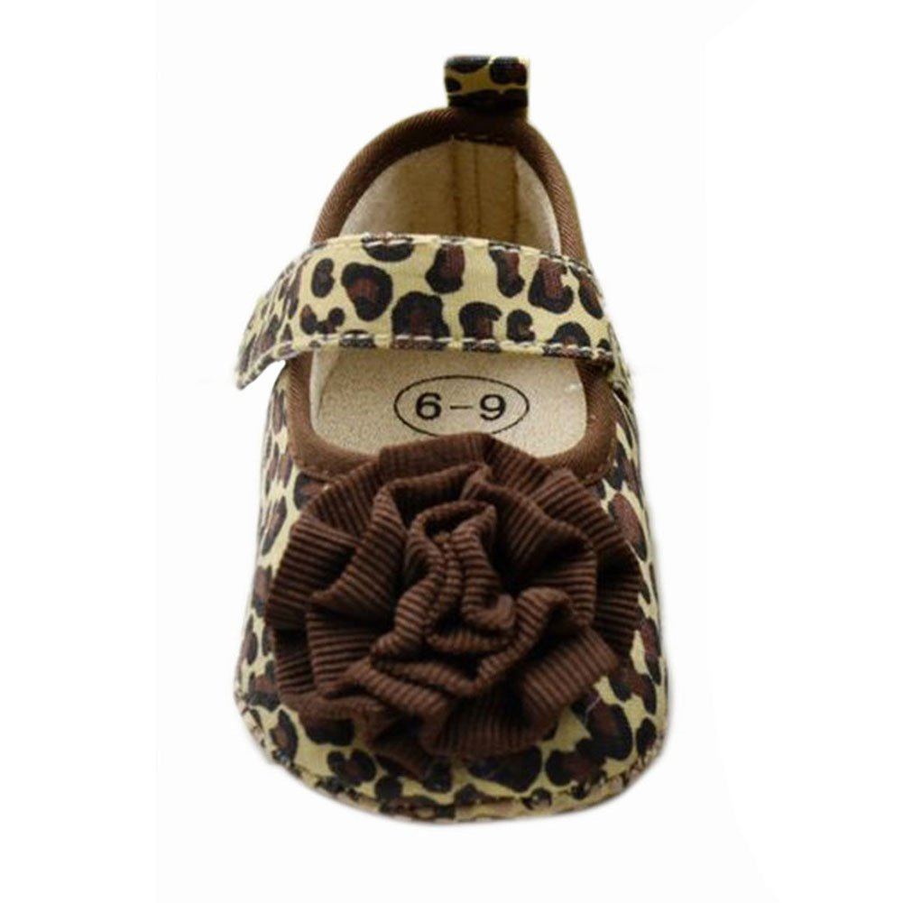 Norbi Baby Girls Leopard Print Soft Sole Crib Shoes NBA-1014-38