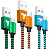 Micro USB Cable Aioneus Android Charger Cable [3-Pack, 6 ft] Micro USB Cord Nylon Braided Fast USB Charging Cable Compatible