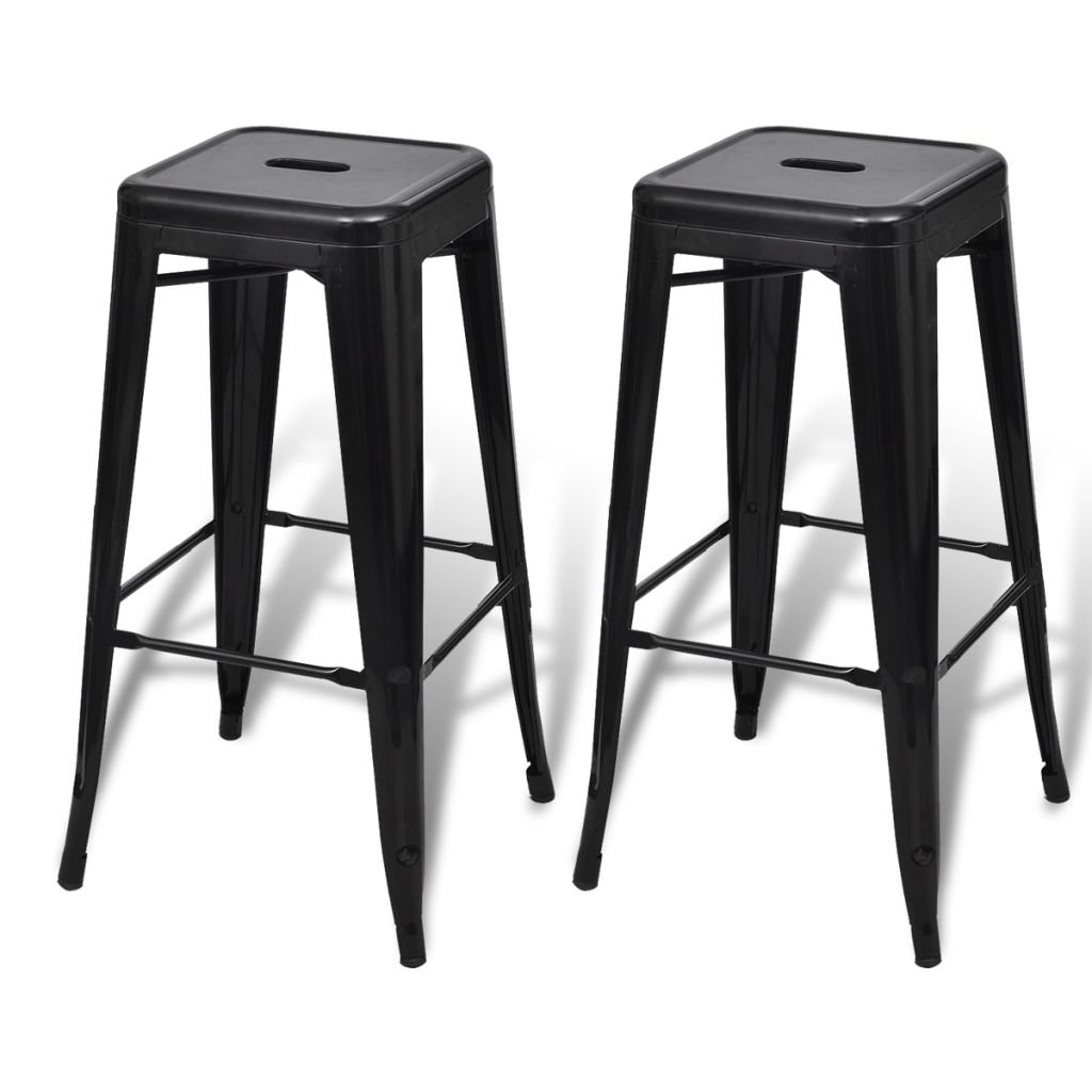 vidaXL 2 Metal Bar Stool 30'' Vintage Antique Style Stackable Counter Chair Black