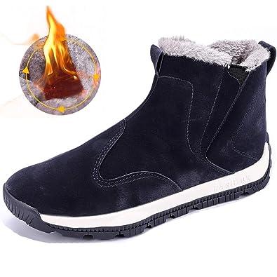 SUADEEX Homme Chaussures Hiver Bottes Neige Bottines Fourrure Doublure  Chaude Baskets Sports Outdoors Noir Bleu 092ca43ee4eb