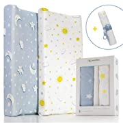 Super Soft and Stretchy Changing Pad Cover Set | 2 Pack Fitted Jersey Cotton Changing Table Pad Covers for Baby Girl and Boy | Bassinet &Cradle Sheets | Cozy & Breathable,Waterproof Pad Liner Included