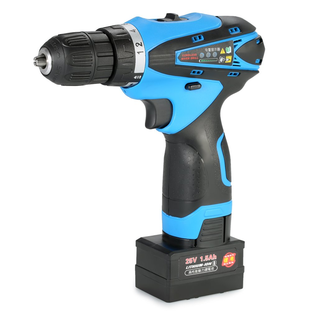 KKmoon 25V Electric Cordless Drill Lithium-Ion Two-Speed Multi-Functional Rechargeable Screwdriver with LED Light