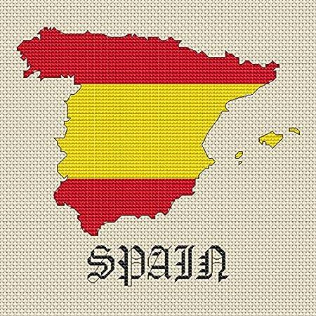 Kit de punto de cruz, de la marca Elite Designs, diseño del mapa y bandera de España: Amazon.es: Hogar
