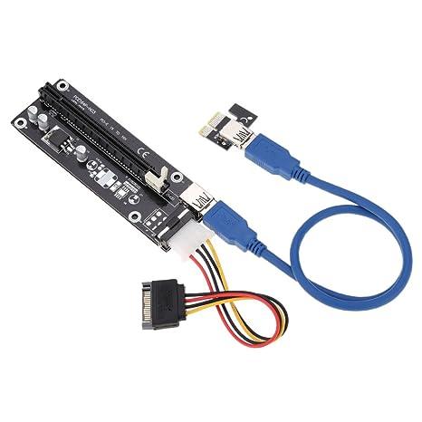 kkmoon USB 3.0 PCI-E PCI Express 1 X a 16 X Extensor Tarjeta Riser Card Adaptador con Cable de alimentación SATA y Cable USB