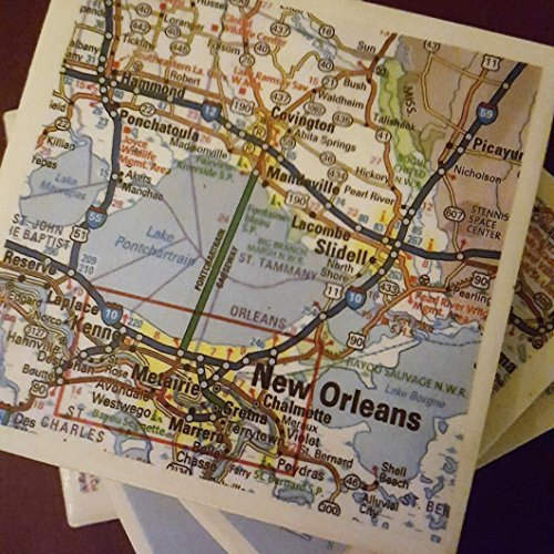 New Orleans Map Coasters, Drink Coasters, Set of 4, NOLA, Full Cork Bottoms - New Orleans Coasters