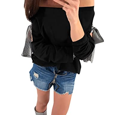 ️Creamdog❤ Womens Long Sleeve Off Shoulder Bowknot Lattice Sweatshirt Pullover Tops Blouse (S