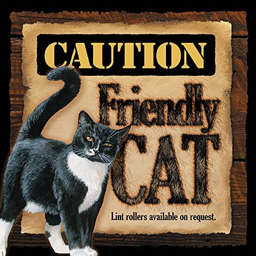 """Caution Friendly Cat 10/"""" x 10/"""" Wood Sign by Persis Clayton Weirs"""