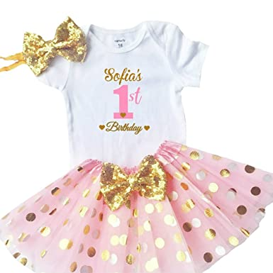 068b2d605a4 Amazon.com  Funmunchkins Personalized Baby Girls 1st Birthday Outfit ...