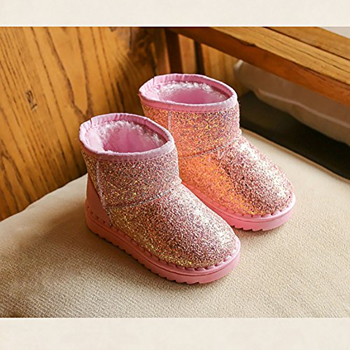 BININBOX Girls Bling Sequins Snow Boots Warm Cotton Shoes Winter Boots (6.5 M US Toddler, Pink) by BININBOX (Image #2)