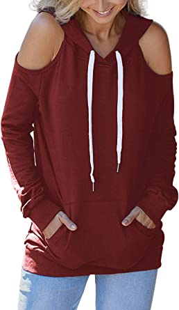 Blouses for Women,Womens Tops Long Sleeve Cut Out Solid Hooded Hole Pullover Tops