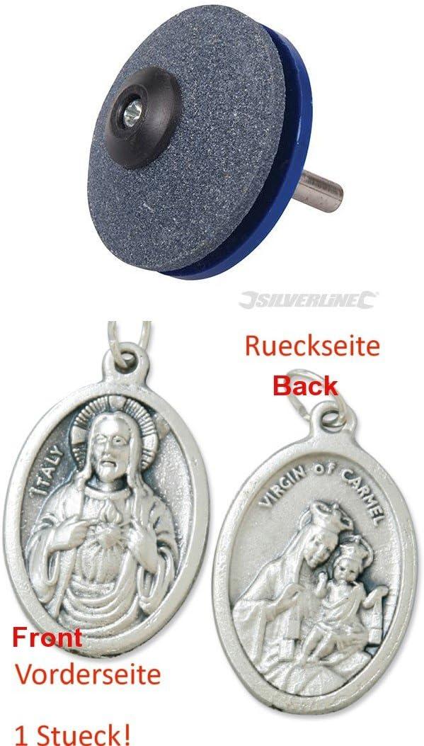 Bohrmaschine Sch/ärfaufsatz f/ür Sichelm/ähermesser und Werkzeugklingen mit Anh/änger Herz Jesu 2,5cm 929977270952 50 mm Sch/ärfer