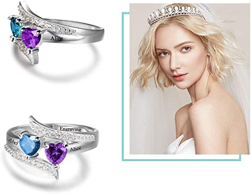Personalized Promise Rings for Her 2 Simulated Birthstones Name Rings for Couples
