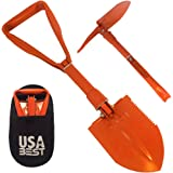 USA Best Small Emergency Folding Shovel with Pick Axe - keep it in your car or take it camping as a survival kit tool (Orange)