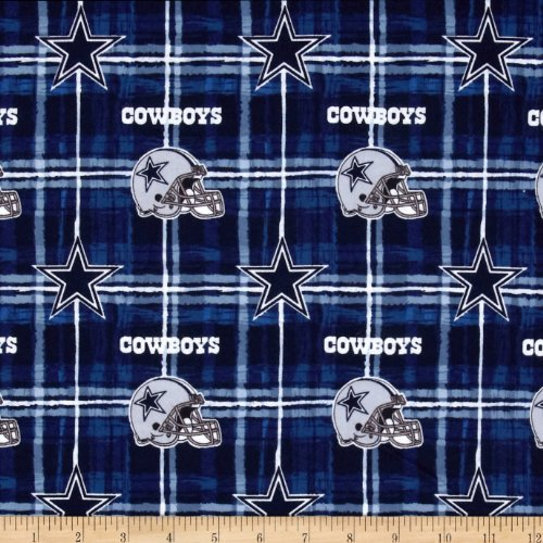 Fabric Traditions NFL Flannel Dallas Cowboys Navy/Grey Fabric by The - Licensed Flannel Fabric