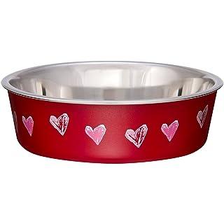 Loving Pets Bella Bowl Designer & Expressions Dog Bowl, Medium, Hearts, Valentine Red