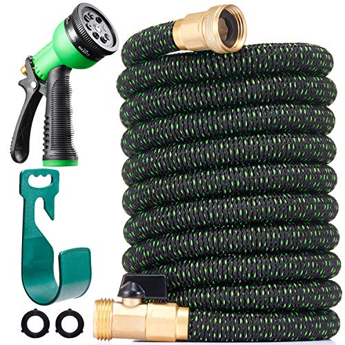 150 ft Expandable Garden Hose – All New 2020 Retractable Water Hose with 3/4″ Solid Brass Fittings, Extra Strength Fabric – Heavy Duty Flexible Expanding Hose with 8 Pattern Spray Nozzle & Hose Holder