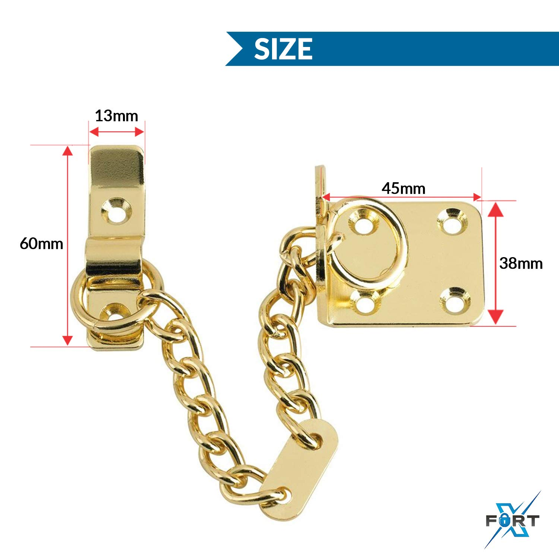 CHROME ~ Narrow Frame Safety Restrictor Lock Guard DOOR CHAIN ~ BRASS