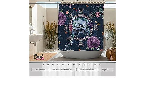 Cool diseño de cortina de ducha de perro Foo Fighters de la cama. Fu perro baño Decor. León perro cortinas. Komainu Shisa 石獅 baño.