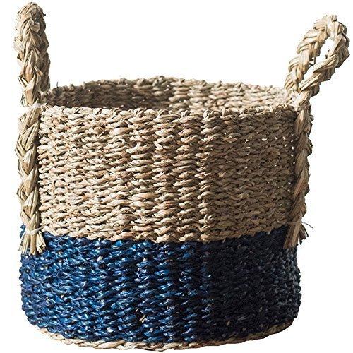 GRAS brown and blue straw baskets with handles/flower pot holder/straw storage barrel/Wholesales bulk/ straw basket