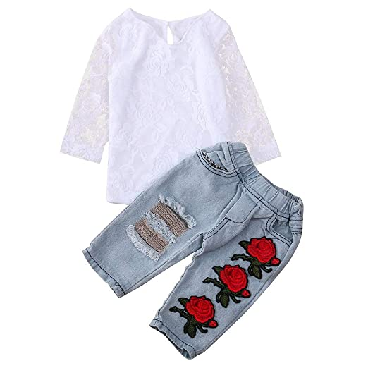 bea8f8efb18b7 Amazon.com  💗 Orcbee 💗 Toddler Outfits Baby Boys Girls Newborn Infant  Lace Flower T-Shirt Tops + Pants Clothes Sets 0-6T  Clothing