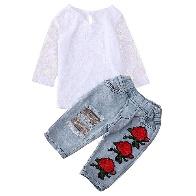 5d47e5871 JYC Conjuntos para niñas, Ropa para Chicas, Infantil Bebé Chicos Chicas  CordónFlor Tops Camisa+Pantalones Trajes Conjuntos: Amazon.es: Ropa y  accesorios