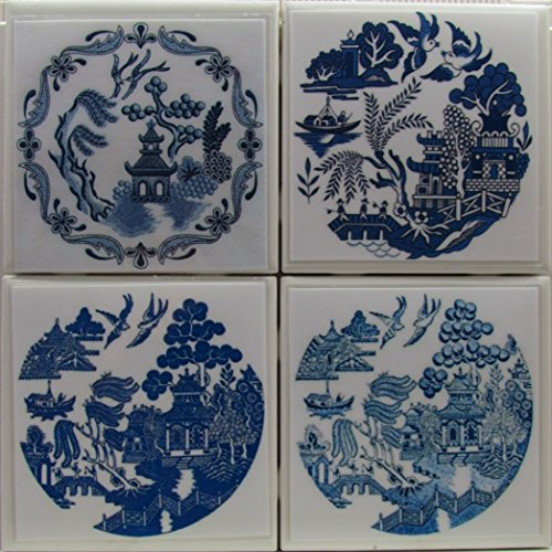 Personalized Coasters - Blue Willow - Set of 4-4