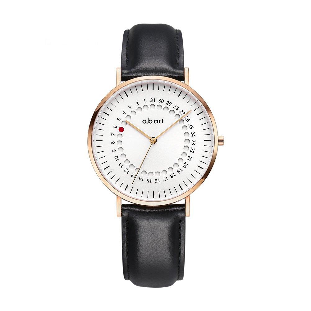 Women Watches on Sale Clearance a.b.art FD36-000-1L Rose Case Black Lido Strap Quartz Analog Movement Wrist Watch (Black and Rose Gold)