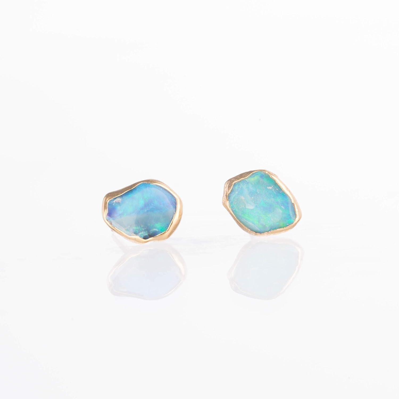 Yellow Gold Raw Opal Earrings