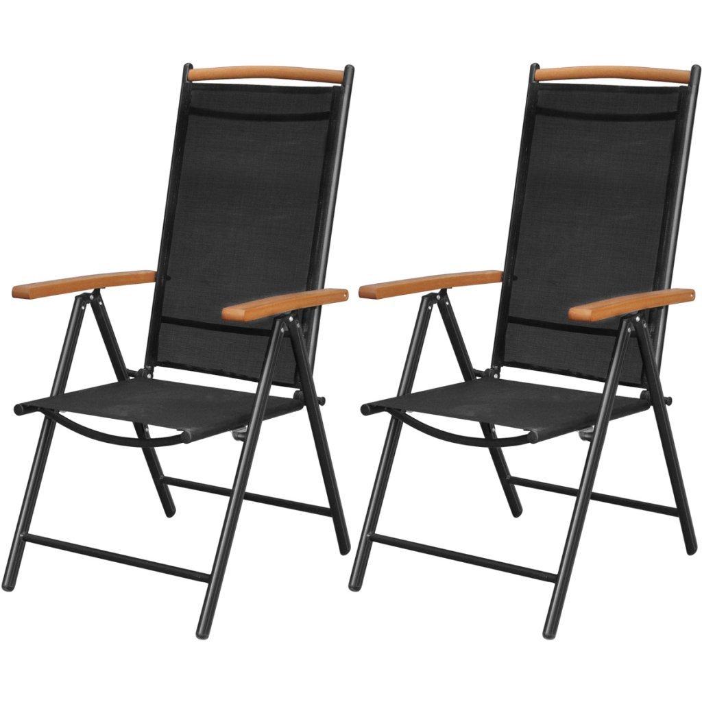 VidaXL 2x Alu Klappstuhl Gartenstuhl Campingstuhl Hochlehner Stühle  Aluminium Schwarz Günstig Online Kaufen