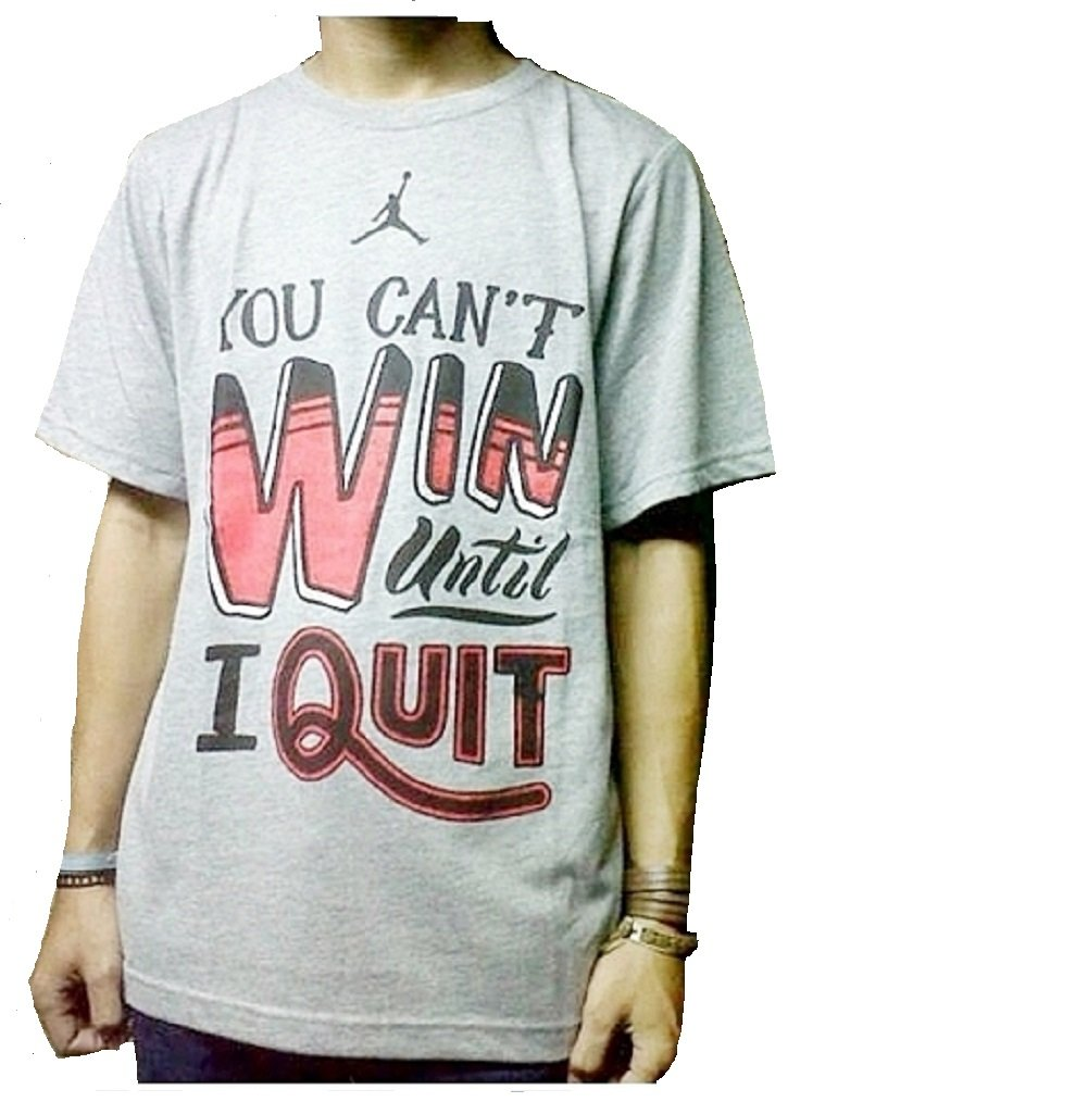 Jordan Nike Boys 'You Can't Win Until I Quit' Tee Shirt (5, Dark Grey Heather)
