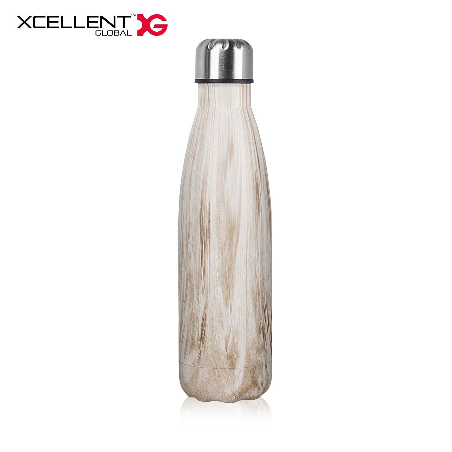 Xcellent Global Double Walled Vacuum Insulated Water Bottle 17oz Leak-Proof Water Thermos Travel Sports Water Bottle For Cold and Hot Drinks (Wood)