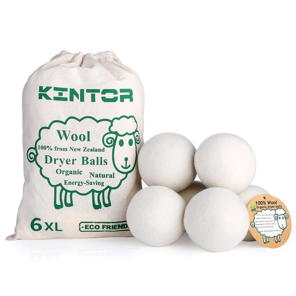 "KINTOR Wool Dryer Balls XL 6 Pack 2.95"", 100% Organic New Zealand Natural Fabric Softener, Hypoallergenic Baby Safe & Unscented, Reduce Wrinkles & Static Cling, Shorten Drying Time"