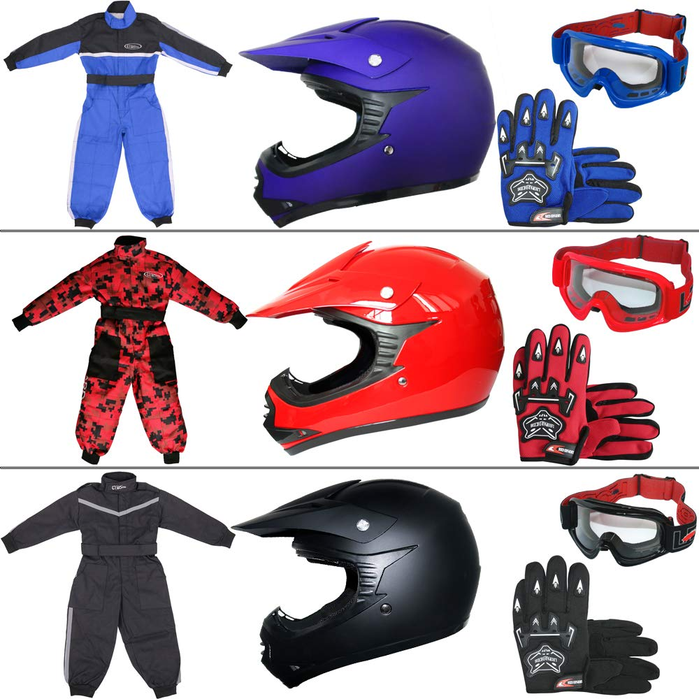 Leopard LEO-X15 Blue Kids Motocross Helmet M(51-52cm) & Gloves M(6cm) & Goggles + Children Kids Motorbike Race Suit XS(3-4Yrs) Touch Global Ltd