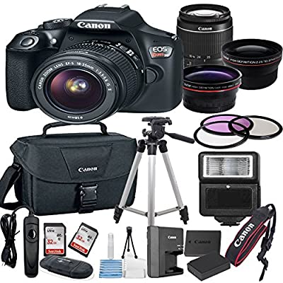 Canon EOS Rebel T6 Digital SLR Camera w/ EF-S 18-55mm IS II Bundle includes Camera, Lenses, Filters, Bag, Memory Cards, Tripod, Flash, Remote Shutter and More - International Version