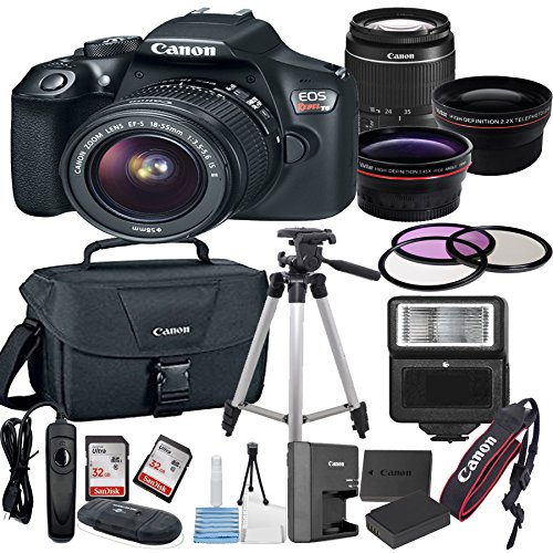 Canon EOS Rebel T6 Digital SLR Camera w/ EF-S 18-55mm IS II Bundle includes Camera, Lenses, Filters, Bag, Memory Cards, Tripod, Flash, Remote Shutter and More - International Version from Canon