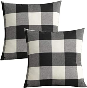 2-Pack Outdoor Throw Pillow Cover 18x18 Inch, Black White Plaid Decorative Home Decor Outdoor Patio Pillowcases Porch Cushion for Couch, Sofa