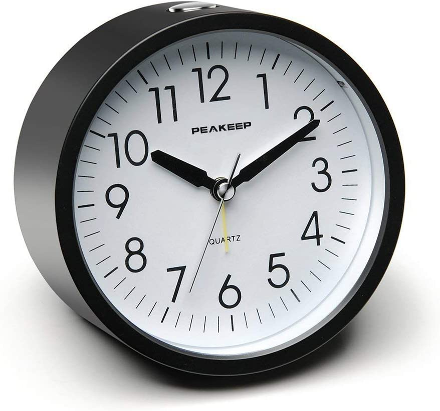 Peakeep 4 inches Round Silent Analog Alarm Clock Non Ticking, Gentle Wake, Beep Sounds, Increasing Volume, Battery Operated Snooze and Light Functions, Easy Set (Black)