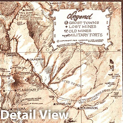 Map Of Arizona Ghost Towns.Historic Map Arizona 1963 Arizona S Lost Mines And Ghost Towns Frontier Military Forts Antique Vintage Reproduction 24in X 30in