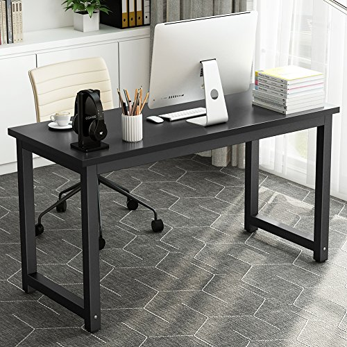55'' Computer Desk , LITTLE TREE Large Office Desk Study Writing Desk / Table Workstation for Home Office, Metal Frame (Black) by LITTLE TREE