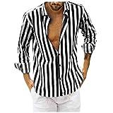Mens Linen 3/4 Sleeve Henley Shirts Cotton Loose